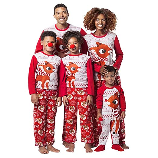 Family Christmas Pajamas 2Pcs Reindeer Print Blouse Tops Pants Xmas Outfit  Set 830b0a0c1