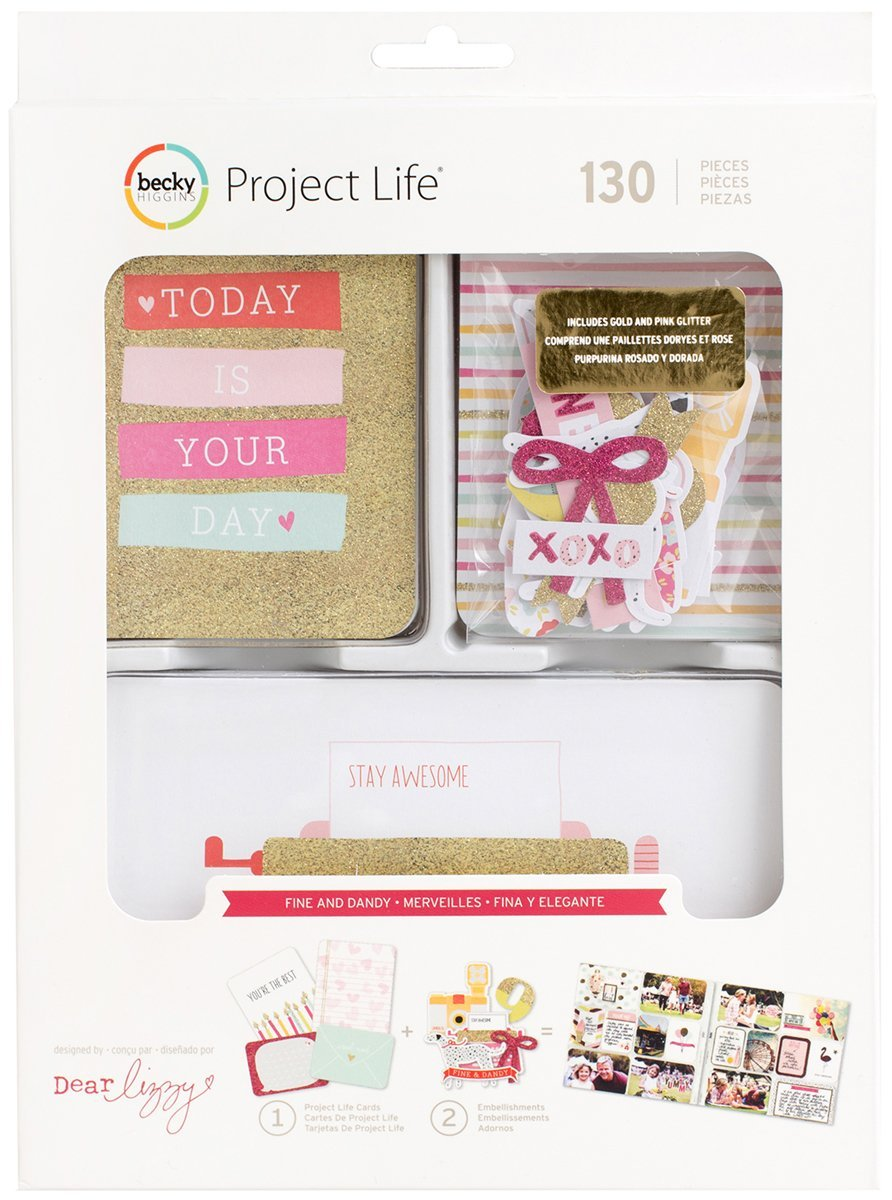 Project Life Kit Value Kits-Fine and Dandy-Pink and Gold Glitter (100 Pieces) by Project Life