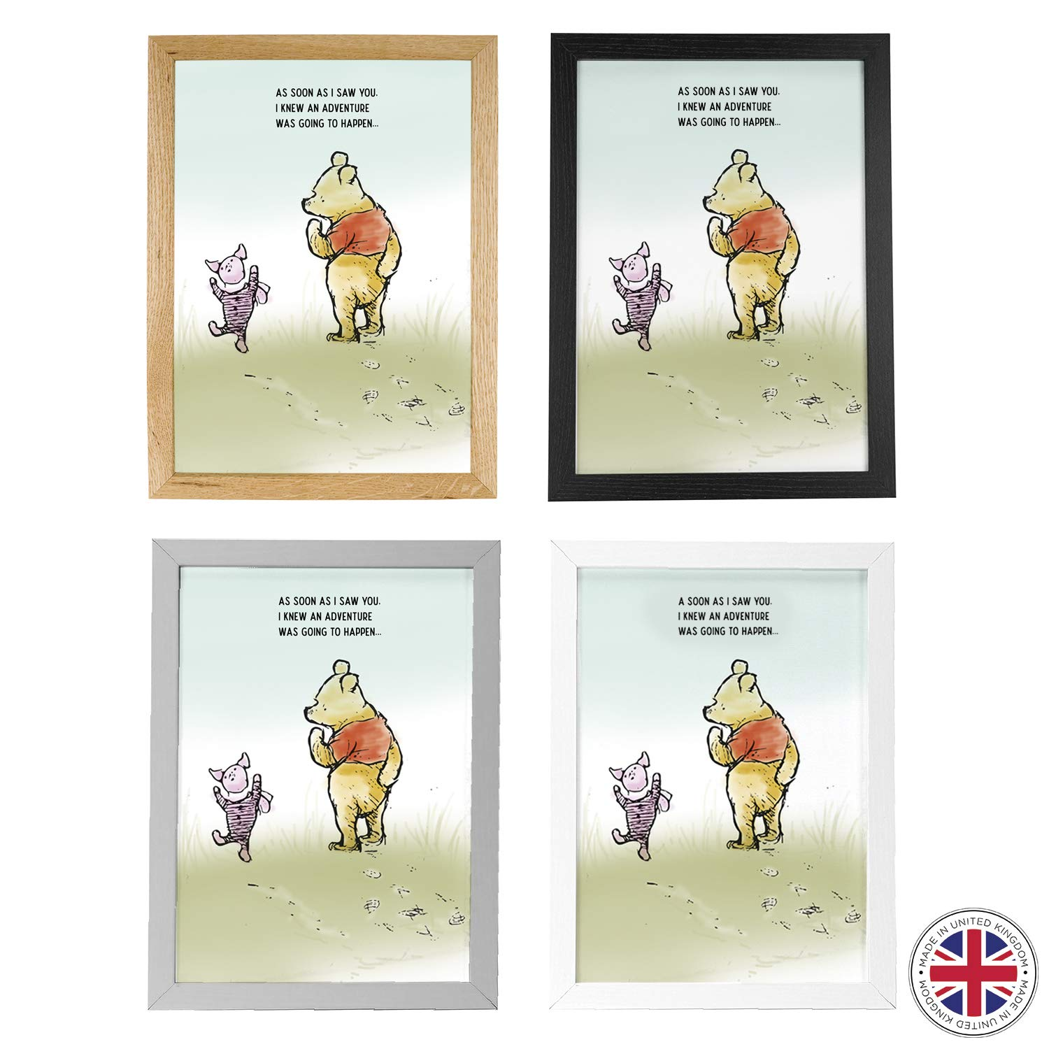 CUSTOMISED Sweet Winnie The Pooh Art Print featuring Eeyore Charming Design A4 and A5 Wooden Frames Available Made in UK A3 Sweet