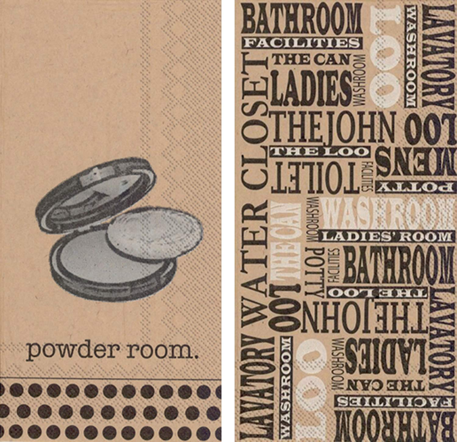 Ideal Home Range Bundle with 1 Powder Room and 1 Brown Paper Loo 3-Ply 16-Count Guest Towel Napkins