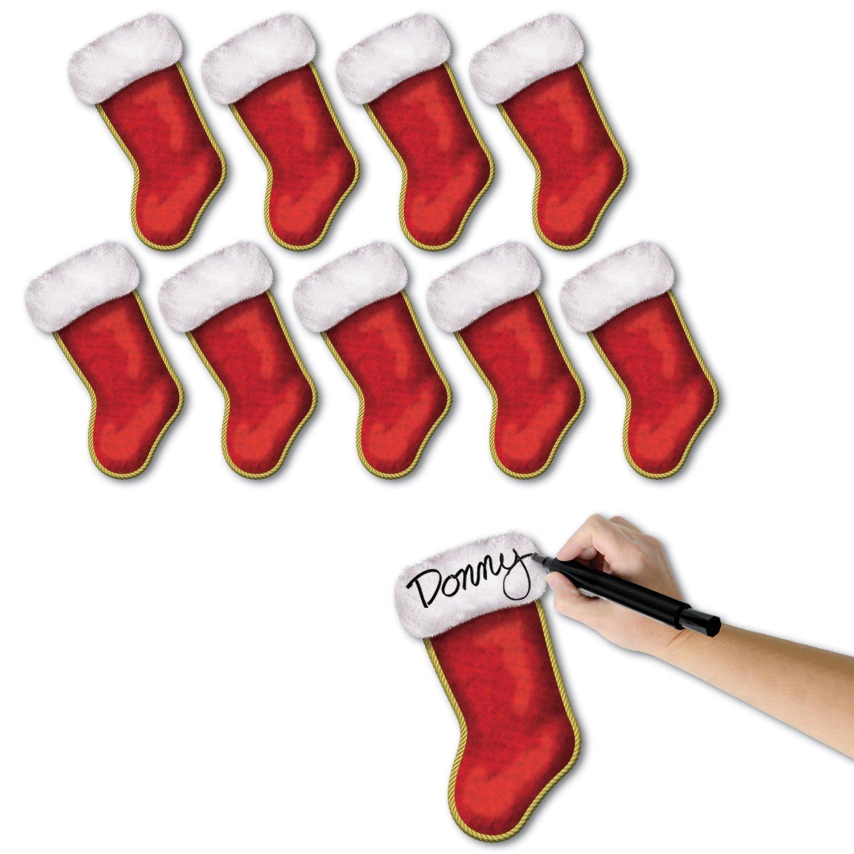 3 Set of 10 Beistle 7-1/4-Inch Mini Christmas Stocking Cutouts bundled by Maven Gifts PMU 112-22031-3