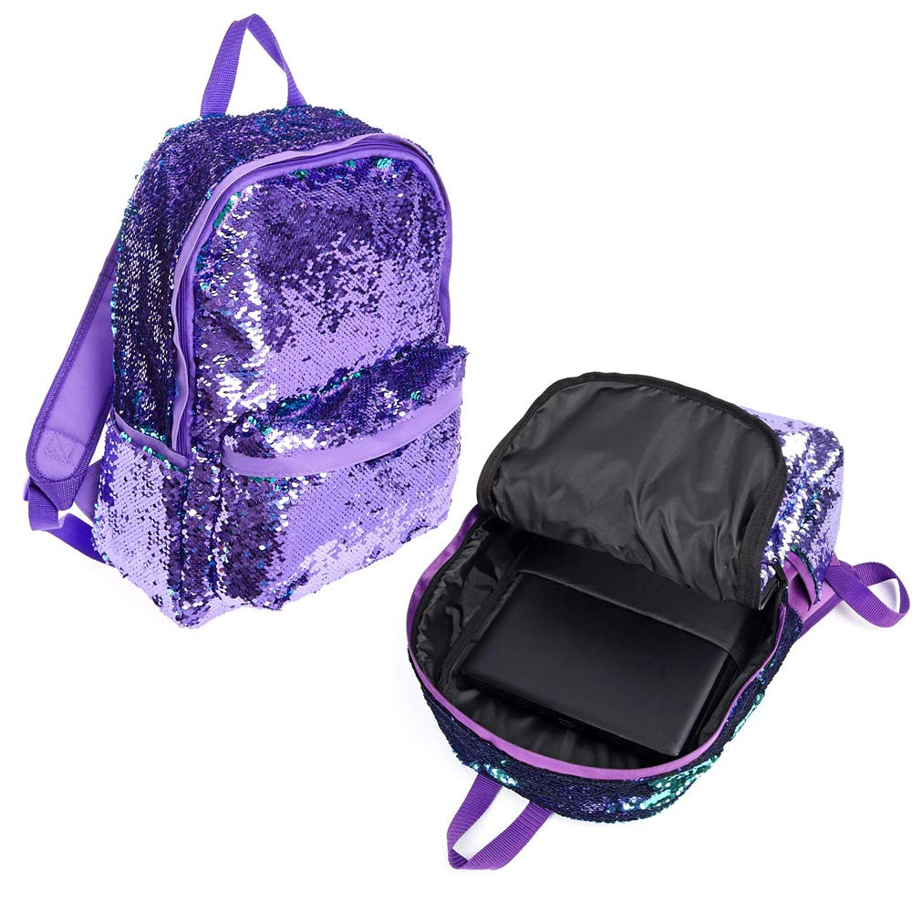 3810d8fd7b65 Pizoff Reversible Sequin Backpack for Girl Boys Sparkly Lightweight Travel  Backpack