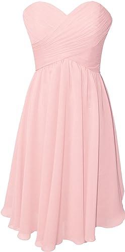 OkayBridal Women's Strapless sweetheart chiffon pleat short bridesmaid dress