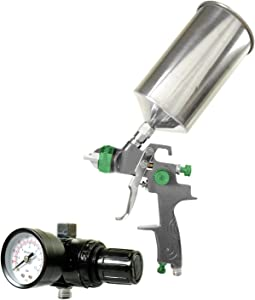 TCP Global Professional Gravity Feed HVLP Spray Gun with a 2.0mm Fluid Tip, 1 Liter Aluminum Cup and Air Regulator