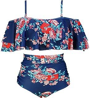 8d77c10feb COCOSHIP Women's Retro Boho Flounce Falbala High Waist Bikini Set Chic  Swimsuit(FBA)