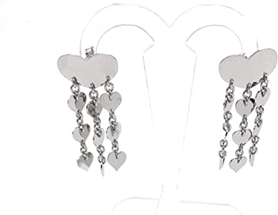Paire de boucles d/'oreille acier chaines trois cœurs