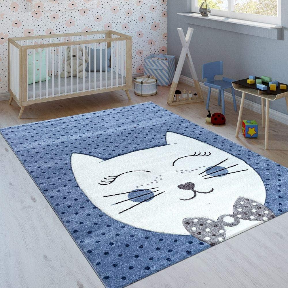 tama/ño:80x150 cm Paco Home Alfombra Infantil Gato Sonriente /Índigo Azul