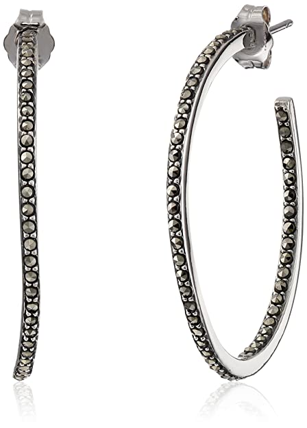 a8a28c5ff Judith Jack Sterling Silver and Marcasite Hoop Earrings: Amazon.ca: Jewelry