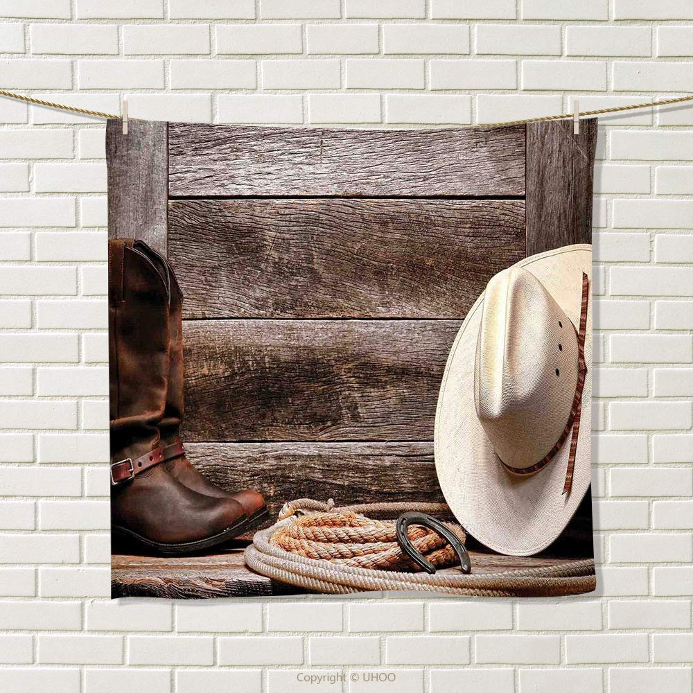 smallbeefly Western Decor Hand Towel American West Rodeo White Straw Cowboy Hat with Lariat Leather Boots on Rustic Barn Wood Quick-Dry Towels Size: W 20'' x L 38''