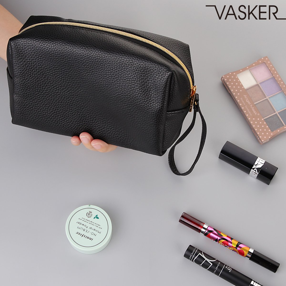VASKER PU Leather Makeup Bag Handy Cosmetic Pouch Travel Portable Handbag Purse Toiletry Storage Bag Large Organizer with Zipper Women by VASKER (Image #8)