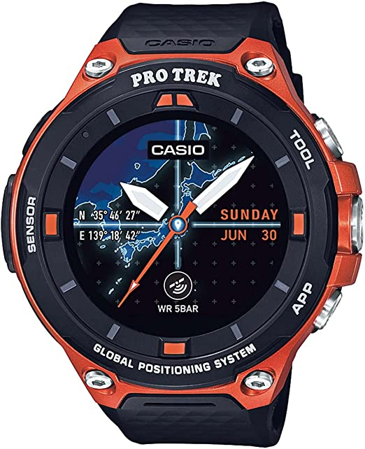 Casio Mens Pro Trek Resin Outdoor Smartwatch, Color:Orange (Model: WSD-F20-RGBAU)