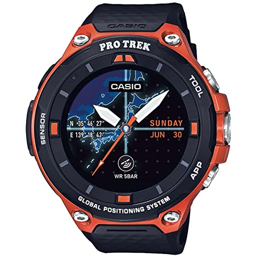 Casio Mens Pro Trek Resin Outdoor Smartwatch, Color:Orange (Model: WSD-F20-RGBAU)
