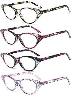 VEVESMUNDO Lesebrillen Damen Herren Federscharnier Lesehilfe Augenoptik Vintage Retro Qualität Vollrandbrille 1.0 1.25 1.5 1.75 2.0 2.25 2.5 3.0 3.5 (1 Stück Gelb Blumen, 3.5)