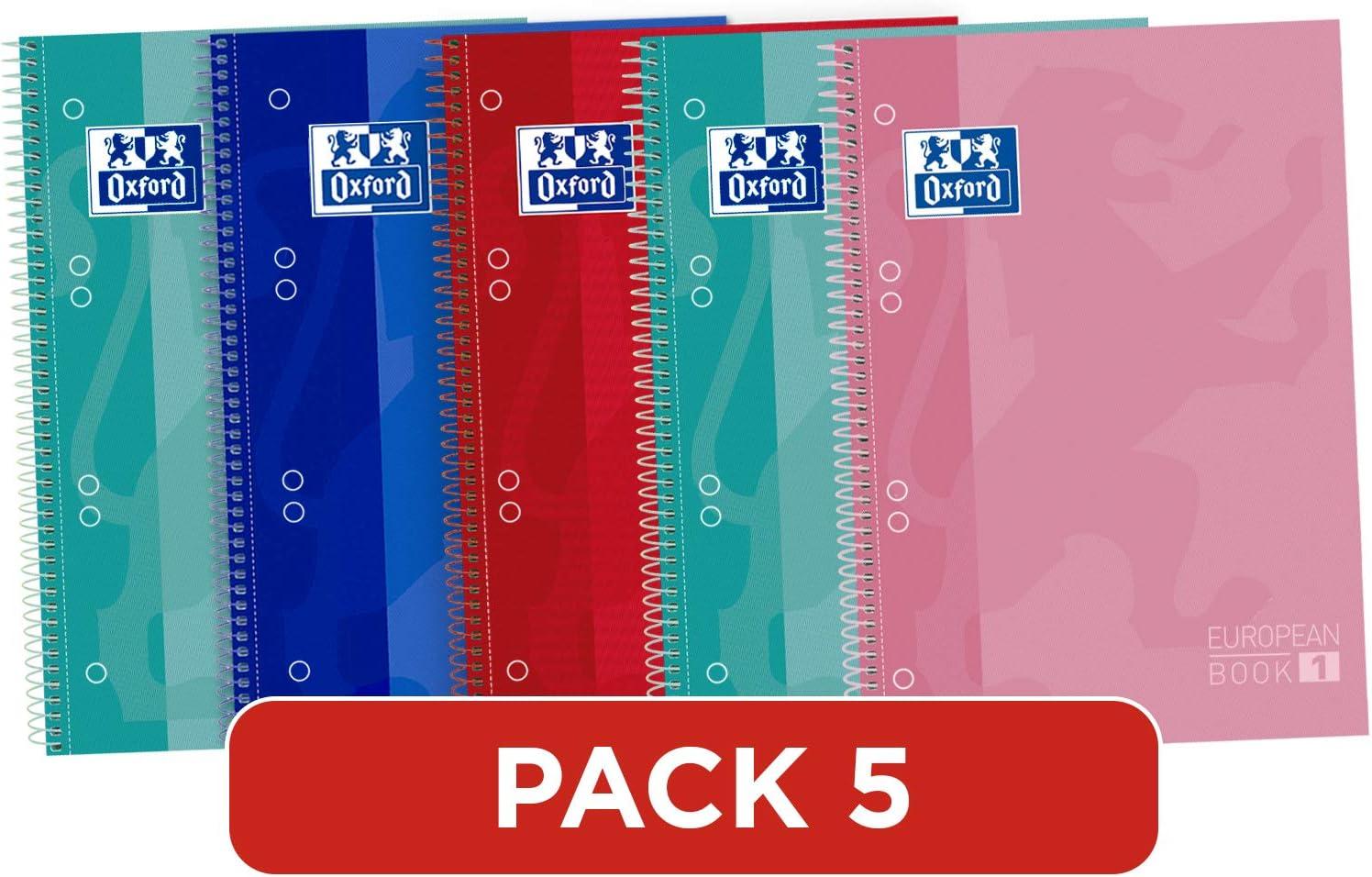 Oxford 400053289 Classic - Cuadernos Espiral, spiral microperforado de tapa extradura, 80 hojas, colores surtidos, tamaño A5 - paquete de 5: Amazon.es: Oficina y papelería