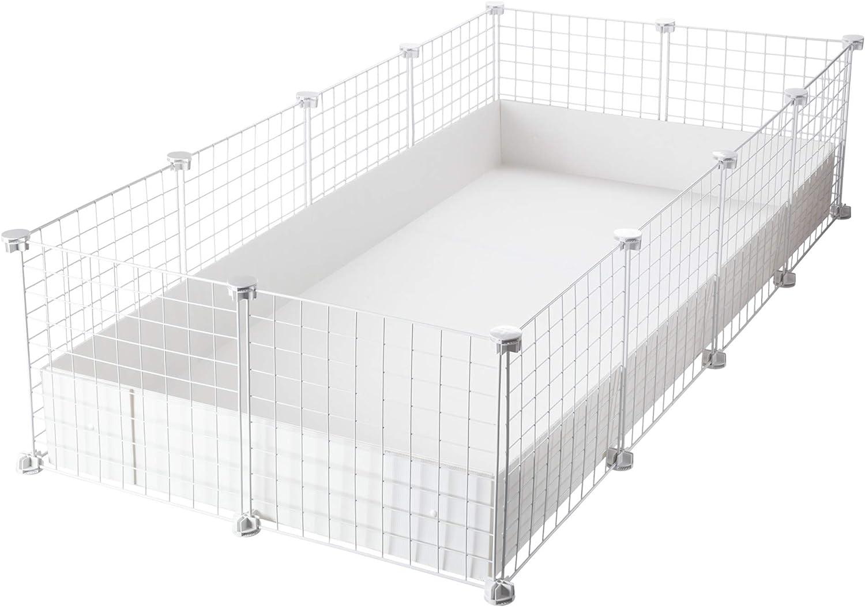 CagesCubes - Jaula CyC Grande (2X4 Paneles en Blanco) + Base de Coroplast Blanco para cobayas
