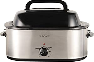 24 Quart Electric Turkey Roaster Oven with Glass Lid