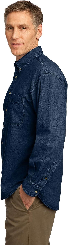 Port /& Company Mens Long Sleeve Value Denim Shirt