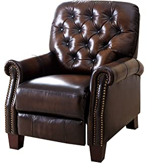 abbyson camden hand rubbed top grain leather pushback recliner