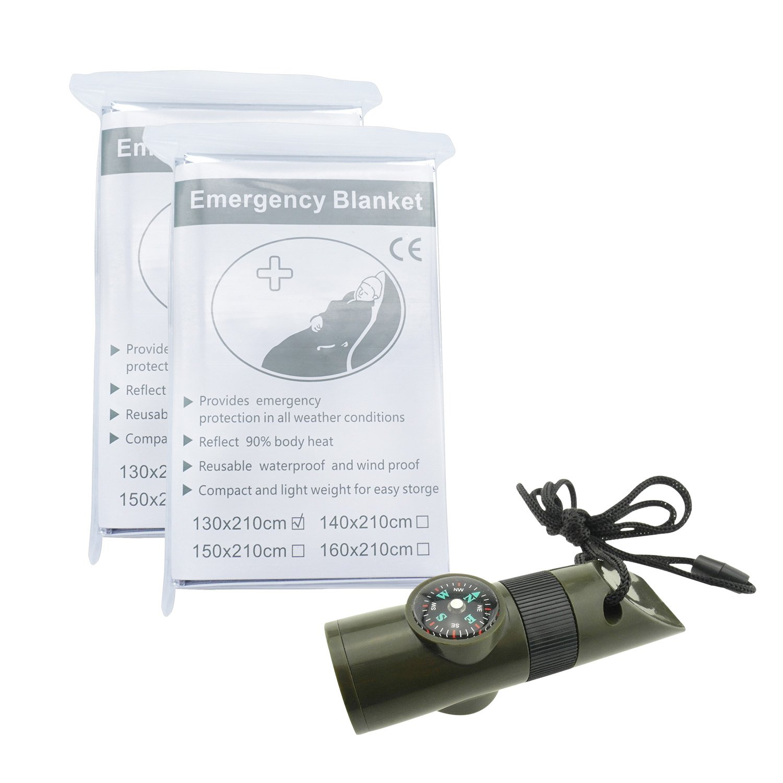TrendBox Multifuncional 7 en 1 Excursión Que acampa al Aire Libre Silbato con Brújula Lupa LED Linterna Termómetro 1 silbido Establece + 4 Mantas