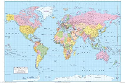 Map Of World France.Amazon Com Pyramid America Carte Politique Du Monde World Map In