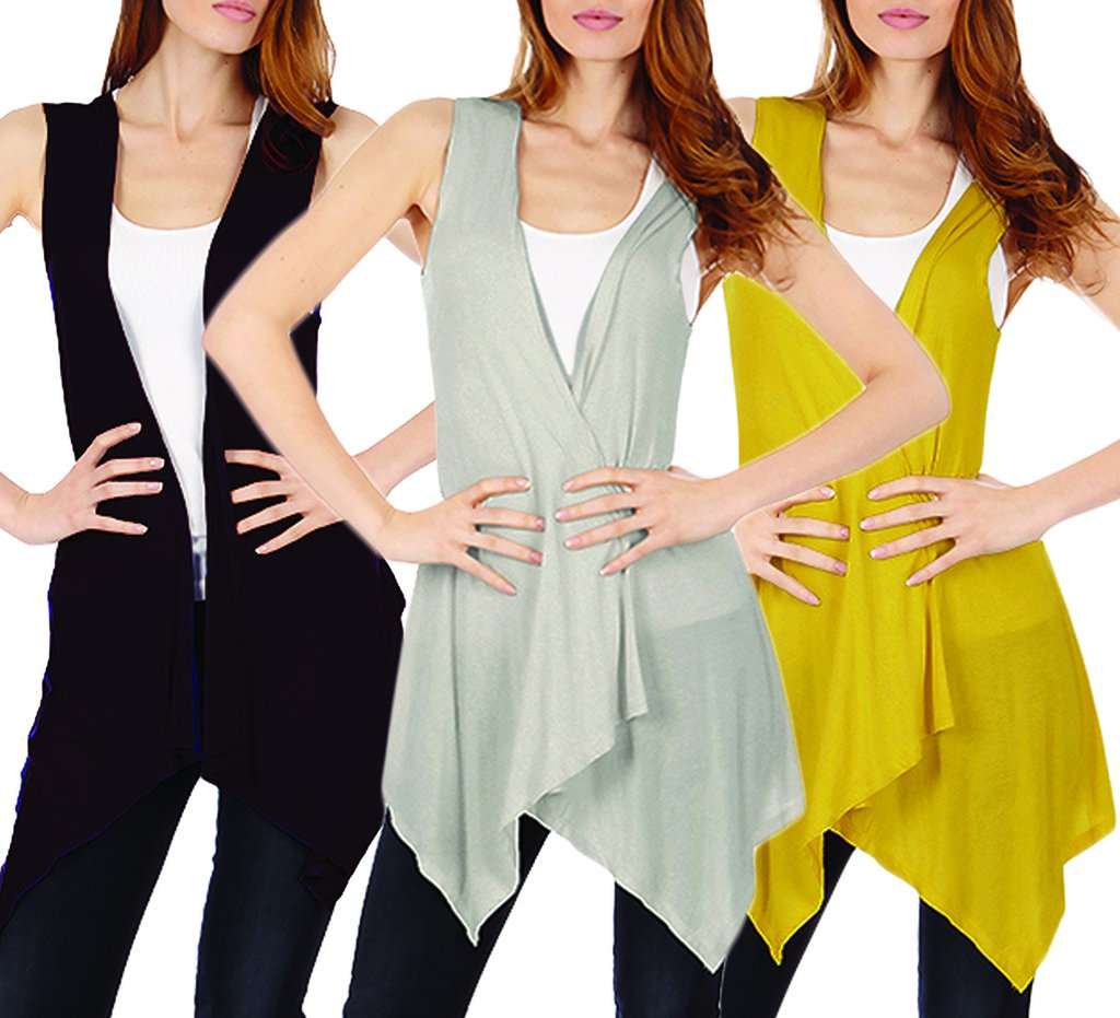 3-Pack Sleeveless Light Weight Flyaway Cardigan Vest with Elastic Detail at Back by Dinamit Jeans