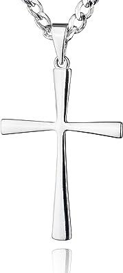 id/éale comme cadeau pour homme STERLL Cha/îne pour hommes avec une boite /à bijou avecun pendentif en forme de croix