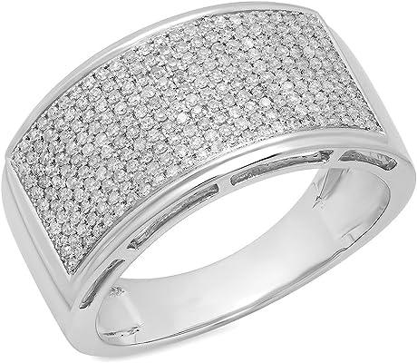 anillo oro con diamante Flashy Micropave de Hip Hop Pinky