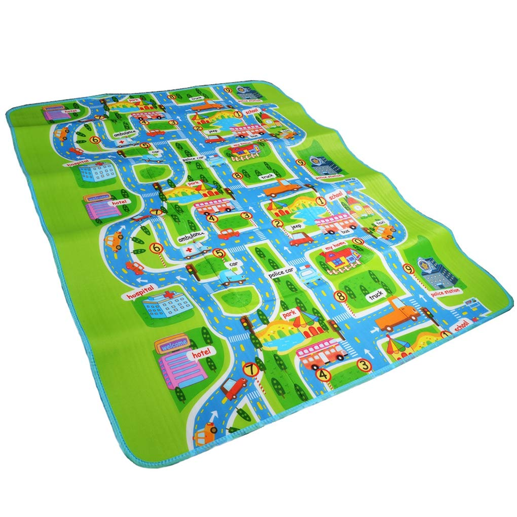 Road Traffic Play Mat -Kids Carpet Playmat Rug City Life Great for Playing with Cars and Toys - Play, Learn and Have Fun Safely