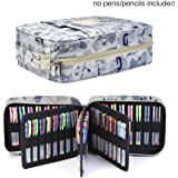 Pencil Case holder Slot - Holds 202 Colored Pencils or 136 Gel Pens with Zipper Closure - Large Capacity Polyester Pen Organizer for Watercolor Pens & Markers | Perfect Gift for Students & Artist sketch qianshan