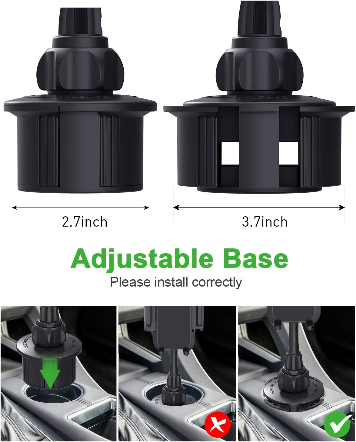 Upgraded Car Cup Holder Phone Mount, Kinhan Cupount/_XL Universal Cell Phone Holder for iPhone Xs//X//8//7//6s//6Plus,Galaxy//Note etc