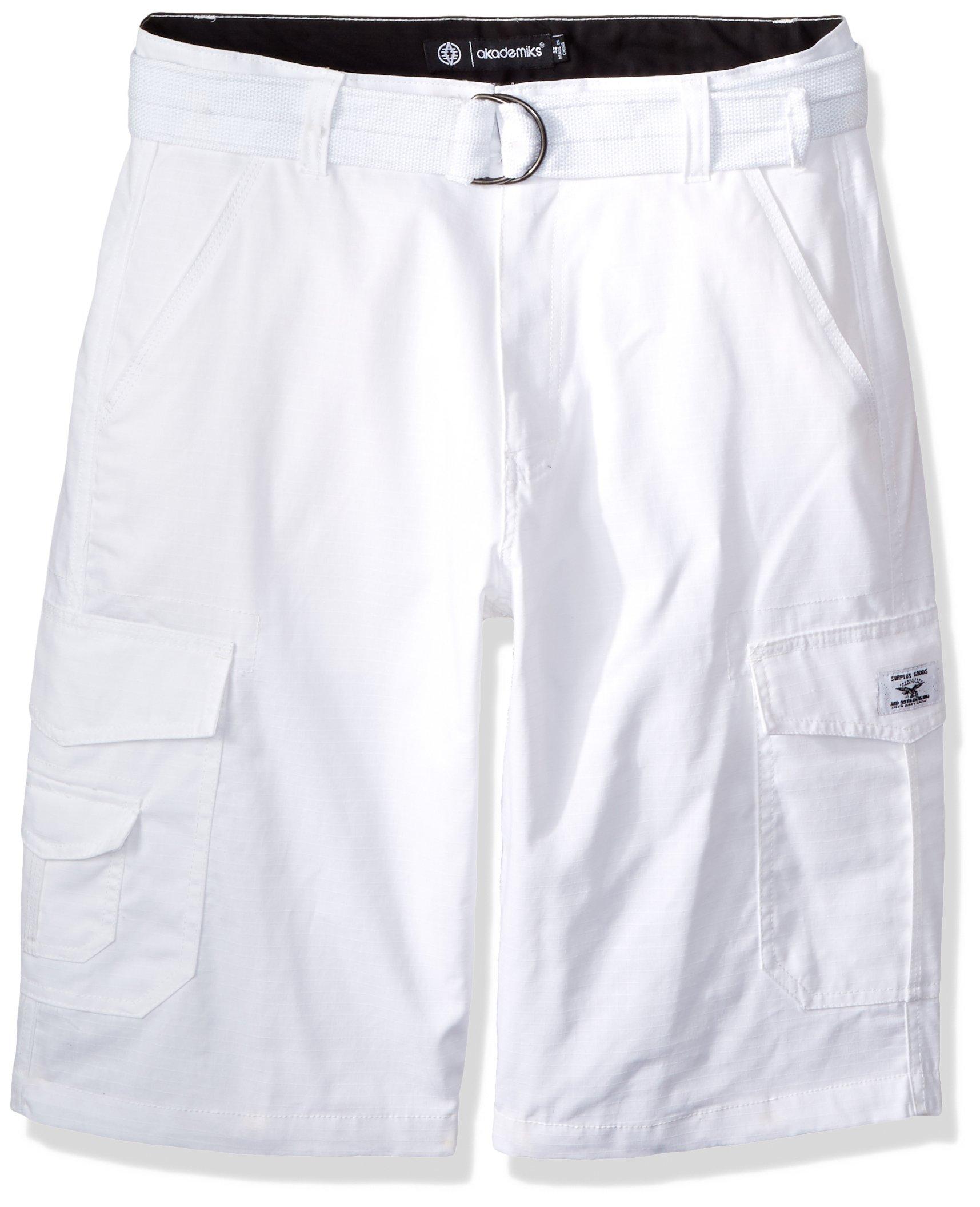 Akademiks Men's Cargo Shorts, Belted White, 42