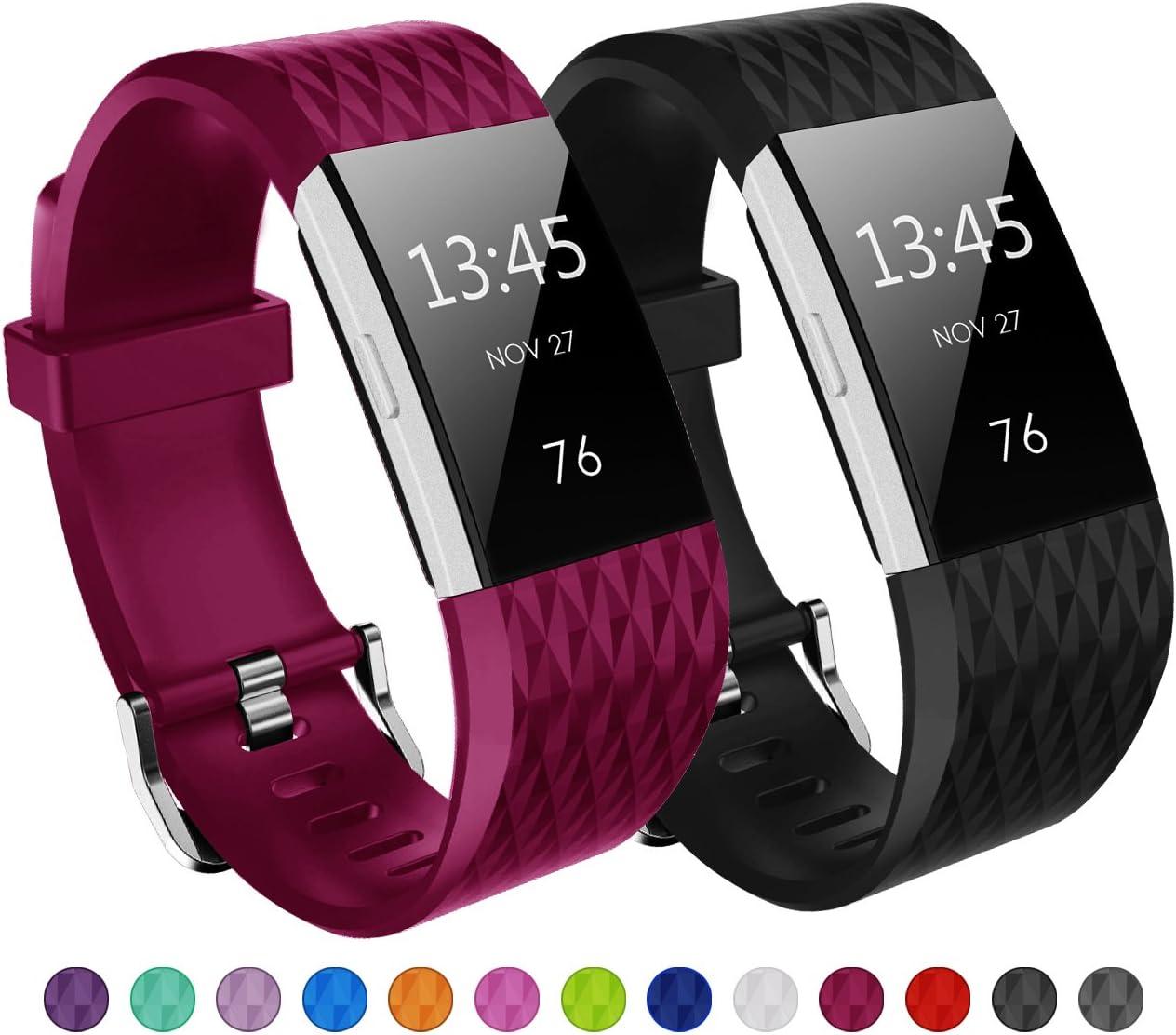 KUTOP Fitbit Charge 2 Correa, TPU Suave Silicona Durable Diamante Patrón de Repuesto Banda Fitness Deportes Ajustable de la Pulsera para Fitbit Charge 2