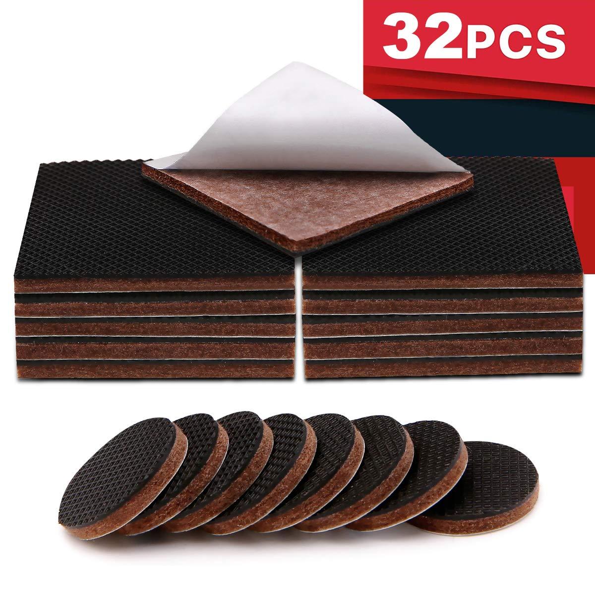 "RIZUGG Furniture Pads,Non Slip 3M Self Adhesive Furniture Gripper 16 pcs 2"" Add 16 pcs 1"" Silicone Felt Protect Your Hardwood Flooring"