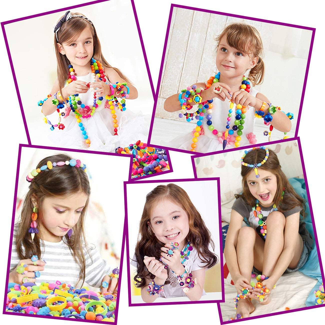 5 6 Bracelet Necklace Ring Hairband Earrings Arts and Crafts Toys for Kids 4 7 ROSYKIDZ Snap Pop Beads Set 8 600 Pcs Arty Beads Jewelry Making Kit with Rhinestone Sticker 9 Years Old Girls