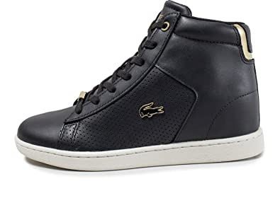 b7408743c Lacoste Womens Carnaby Evo Mid Wedge Trainers Sneakers in Black Gold ...