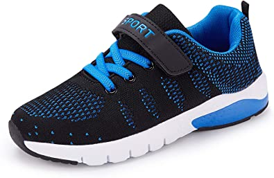 Kids Tennis Running Shoes Girls Boys Knit Lightweight Sneakers Mesh Athletic Walking Shoes Strap Sport Outdoor Trail Casual Sneaker?Toddler//Little Kid//Big Kid Dark Blue