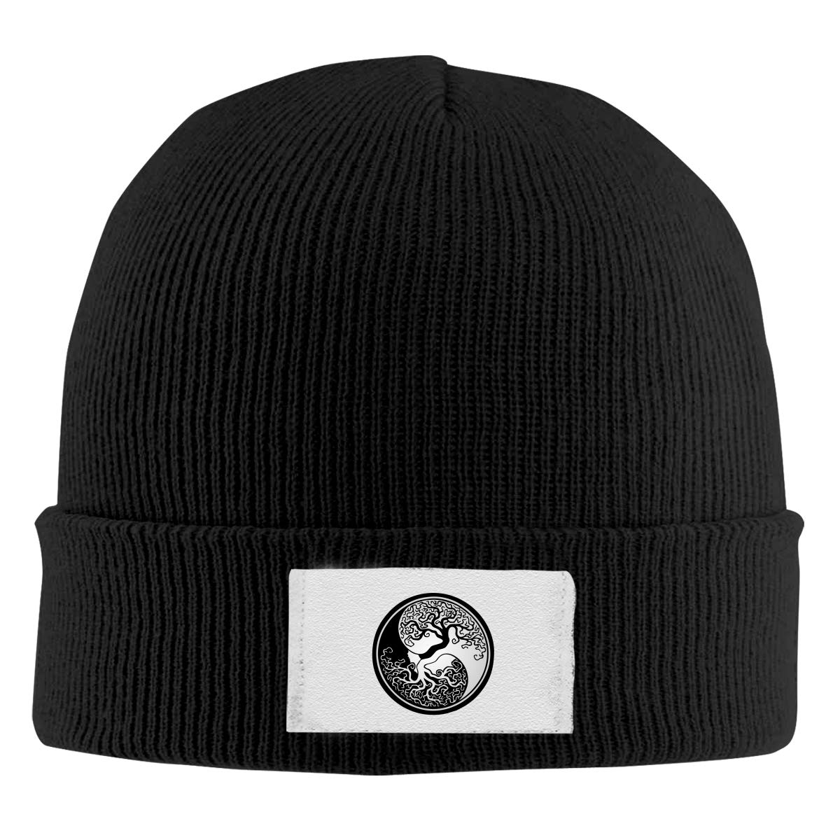 Skull Caps Tree of Life Yin Yang Winter Warm Knit Hats Stretchy Cuff Beanie Hat Black