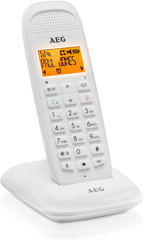 AEG Voxtel D81 - Teléfono inalámbrico DECT con Altavoz, Blanco
