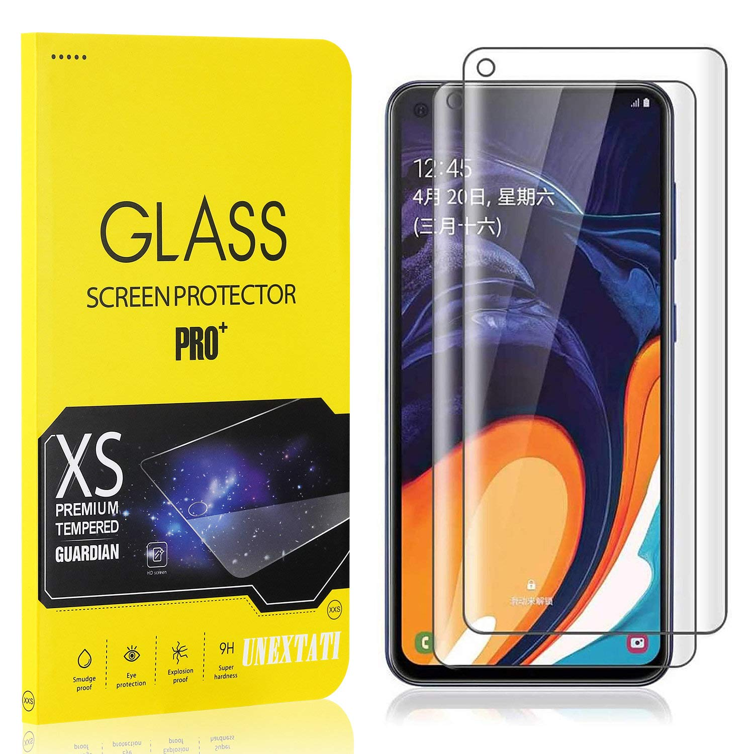 UNEXTATI Tempered Glass Screen Protector HD Clear Screen Protector for Samsung Galaxy M40 2 Pack Screen Protector Film Compatible with Galaxy M40