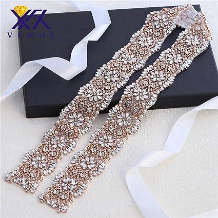 Amazon.com  XINFANGXIU Rose Gold Wide Rhinestone Wedding Belt Bridal ... f4ad5896f5fc