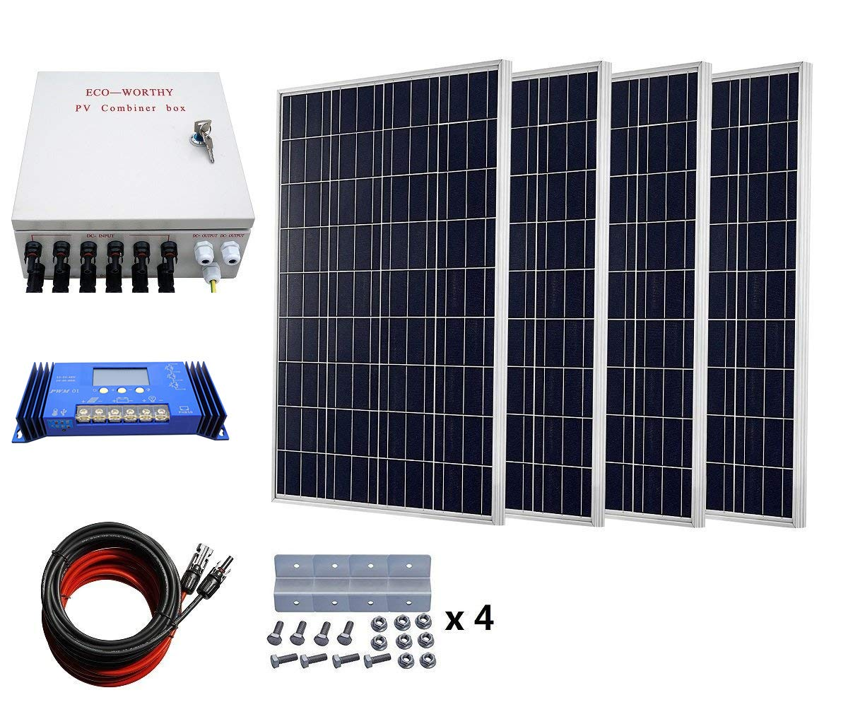 ECO-WORTHY 400 Watts Solar System: 4pcs 100W Poly Solar Panel + 60A Charge Controller + 6-String Solar Combiner + 24cm Cable Connector