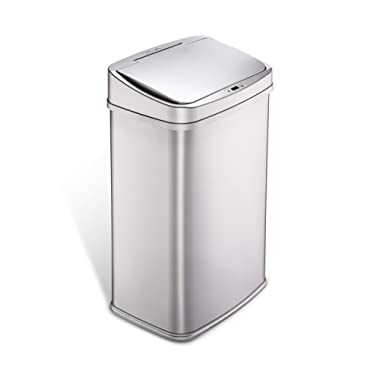 NINESTARS DZT-50-28SL Automatic Touchless Infrared Motion Sensor Trash Can, 13 Gal 50L, Stainless Steel Base (Rectangular,  Silver Lid)