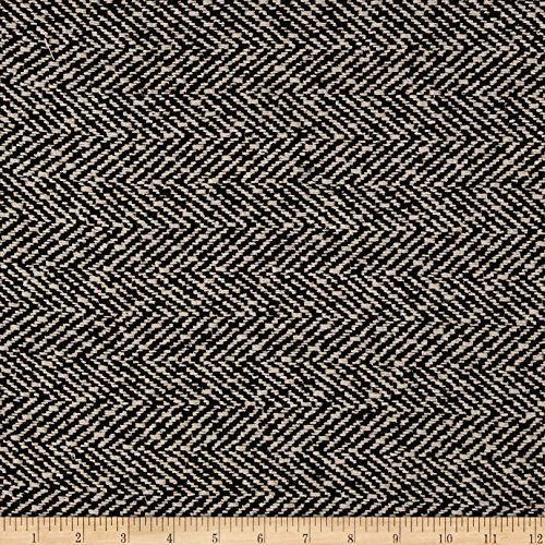 Ametex Wool Blend Herringbone Coating Black/White Fabric by The Yard,