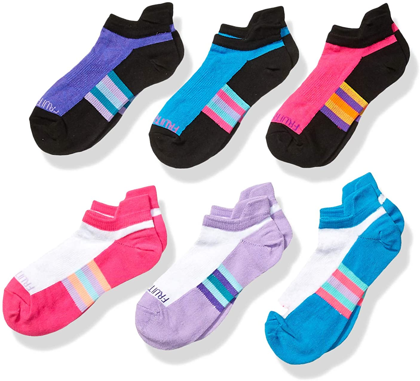 Fruit of the Loom Girls Active Lightweight Ankle Socks 6 Pair