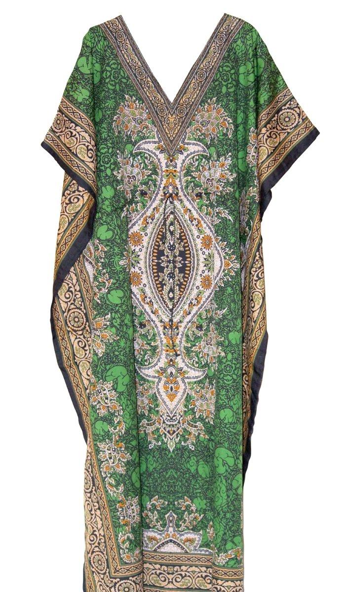 One Size Green Kaftan Dress Long Maxi Kimono Caftan Drawstring Gown Nightdress Beach Kaftan Casual Party Dress