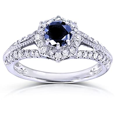 33f1e8210d5 Vintage Sapphire   Diamond Engagement Ring 1 Carat (ctw) in 14k White Gold