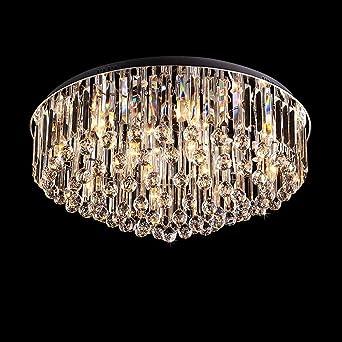 Runde Kristall Deckenleuchte LED Luxus Modern, Chrom Finish Kristallen  Unterputz Leuchter, Kristallkronleuchter