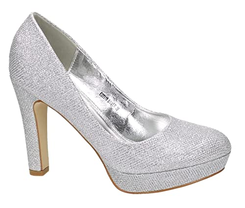 eef0117dd72 King of Shoes Womens Platform Silver Size  3 UK  Amazon.co.uk  Shoes   Bags