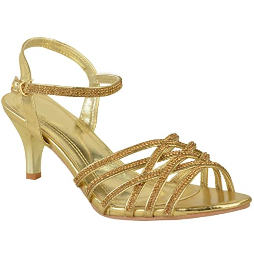 Fashion Thirsty Womens Diamante Wedding Low Kitten Heel Bridal Shoes Strappy Sandals Size 7