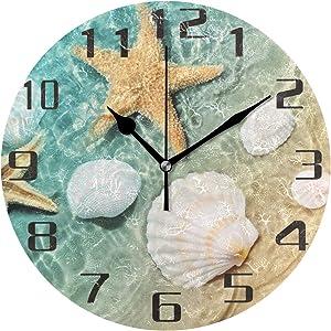 KUWT Beach Starfish Seashell Wall Clock Silent Non-Ticking 9.5 Inch Round Clock Acrylic Art Painting Home Office School Decor